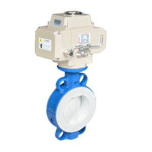 Electric lined ptfe butterfly valve