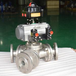Y-type-135-degree-pneumatic-three-way-ball-valve