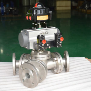 Y-type-135-degree-pneumatic-three-way-ball-valve